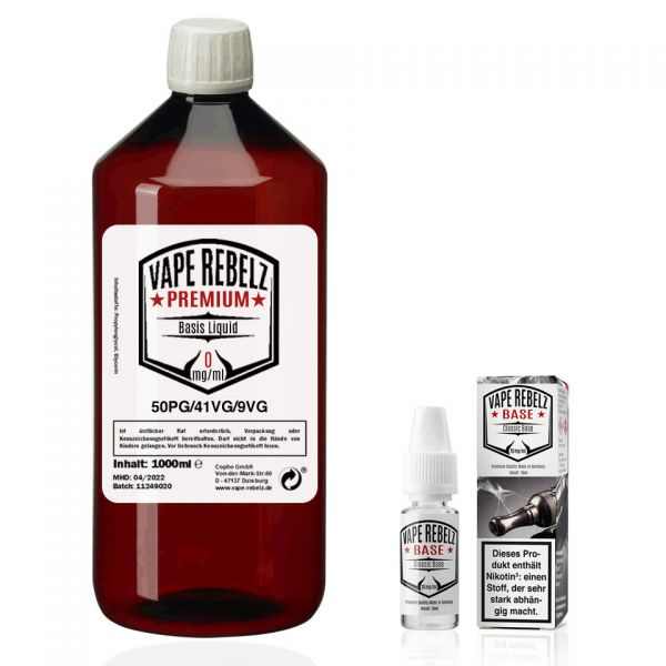 Vape Rebelz® Rohstoff 50:41:9 mit Nikotin Shots | 6mg Set - 1000ml