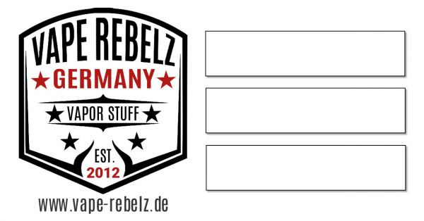10x selbstklebendes farbiges Vape-Rebelz® Etiketten Label (63mm x 33mm)