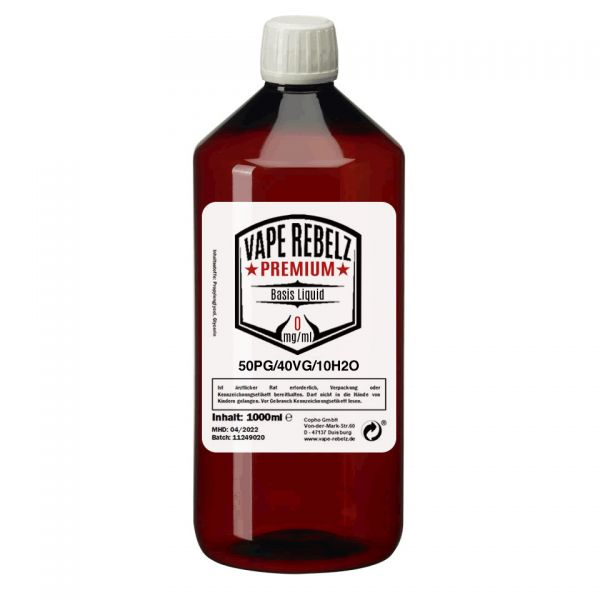 Vape Rebelz® Basis Liquid Propylenglycol / Glycerin / H2O (50:40:10) - 1000ml