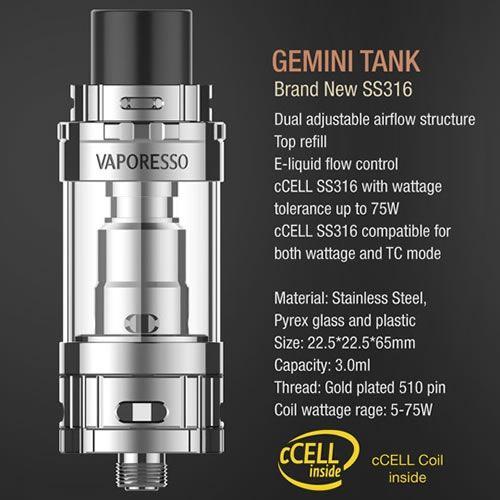 Vaporesso Gemini cCELL SS316 Tank - 3.0ml