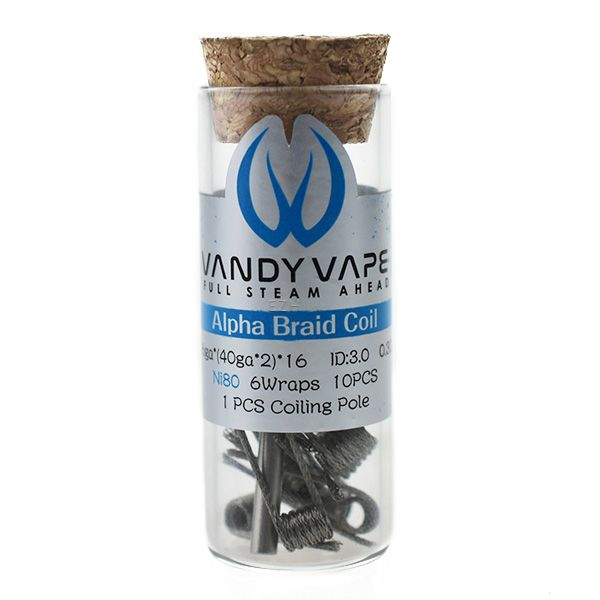 Vandy Vape Prebuilt Ni80 Alpha Braid Coil 26ga*(40ga*2)*16 mit 0.3 Ohm