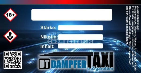 10x selbstklebendes farbiges Dampfer-Taxi® Etiketten Label (63mm x 33mm)