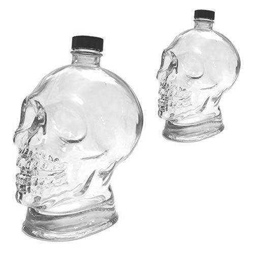 Totenkopf Glasflasche 700ml mit Verschluss